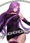 1girl ashiomi_masato bangs bare_shoulders black_dress boots breasts chain choker collar commentary_request dress elbow_gloves facial_mark fate/grand_order fate/stay_night fate_(series) forehead_mark gloves large_breasts long_hair looking_at_viewer panties parted_bangs purple_hair purple_panties rider sidelocks skin_tight sleeveless thigh-highs thigh_boots thighs underwear upskirt very_long_hair violet_eyes