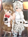 2girls ;) ;d absurdres amemiya_neru animal_ear_fluff animal_ears animal_print bangs bare_shoulders belt blue_eyes blurry blurry_background bobcat_(kemono_friends) bow bowtie brown_hair cat_ears cat_print cat_tail cup depth_of_field elbow_gloves extra_ears flat-headed_cat_(kemono_friends) gloves green_eyes hair_between_eyes highres holding holding_cup holding_menu holding_weapon indoors interlocked_fingers kemono_friends menu multicolored_hair multiple_girls necktie one_eye_closed open_mouth print_gloves print_legwear print_neckwear print_skirt red_neckwear shirt short_hair silver_hair skirt sleeveless sleeveless_shirt smile steam tail teacup thigh-highs two-tone_hair weapon white_belt white_hair white_shirt wooden_floor