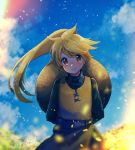 belt blonde_hair blue_sky blush brown_eyes closed_mouth clouds cloudy_sky day flat_chest highres long_hair long_sleeves looking_at_viewer mu_acrt outdoors pokemon pokemon_special ponytail signature sky smile standing yellow_(pokemon)