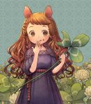 1girl animal_ears bangs braid brown_hair clover clover_(flower) commentary_request cowboy_shot dress eating flower food food_on_face four-leaf_clover holding_plant kiitos long_hair minigirl mouse_ears mouse_girl original plant puffy_sleeves purple_dress shamrock side_braid solo swept_bangs tongue tongue_out white_flower