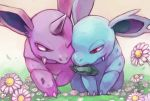 claws couple creature eye_contact flower full_body gen_1_pokemon grass hetero horn looking_at_another moon_stone mouth_hold nidorina nidorino no_humans pokemon pokemon_(creature) polyacryla red_eyes violet_eyes