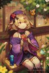 1girl althemia animal animal_ears artist_name bangs bare_shoulders bench beret bird black_bow black_skirt boots bow box brown_footwear brown_hair bug butterfly center_frills collared_shirt commentary cross-laced_footwear day dragalia_lost english_commentary eyebrows_visible_through_hair feet_out_of_frame flower frills gift gift_box hair_between_eyes hat hentaki highres holding holding_gift insect jacket lace-up_boots looking_away navel off_shoulder on_bench open_clothes open_jacket outdoors parted_lips pink_flower purple_headwear purple_jacket red_eyes red_flower shirt sitting sitting_on_bench skirt sleeveless sleeveless_shirt solo striped striped_legwear thigh-highs valentine vertical-striped_legwear vertical_stripes watermark web_address white_flower white_legwear white_shirt wide_sleeves window yellow_flower