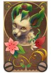 brown_background commentary creature english_commentary face flower gen_4_pokemon gracidea highres leafeon looking_at_viewer no_humans nordeva pokemon pokemon_(creature) realistic solo yellow_eyes