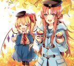 2girls alternate_costume black_bow black_headwear blonde_hair blue_jacket blue_shirt blue_skirt blush boots bow braid capelet closed_eyes commentary_request crystal elbow_rest elbows_on_knees fangs fingernails flandre_scarlet food ginkgo_leaf hair_bow hands_on_own_face hat hat_ribbon holding holding_food hong_meiling jacket kirero long_fingernails long_hair long_sleeves looking_at_viewer multiple_girls open_mouth outdoors pleated_skirt red_bow red_eyes redhead ribbon shirt side_ponytail skin_fangs skirt smile sparkle star sweet_potato toggles touhou twin_braids wings yakiimo