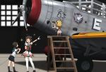 3girls aircraft airplane annin_musou antenna_hair black_hair black_neckwear blonde_hair blue_sailor_collar blue_skirt brown_eyes closed_eyes commentary_request double_bun fairy_(kantai_collection) gloves indoors kantai_collection ladder miyuki_(kantai_collection) multiple_girls naka_(kantai_collection) necktie one_eye_closed photo_(object) pleated_skirt pointing puffy_short_sleeves puffy_sleeves remodel_(kantai_collection) sailor_collar school_uniform serafuku short_hair short_sleeves skirt standing tbd_devastator thigh-highs v white_gloves white_legwear