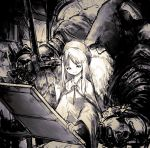 1boy 1girl age_difference armor canvas_(object) cape dark_souls_iii facial_hair hat highres holding holding_sword holding_weapon hood hood_up indoors long_hair long_sleeves mnnnya painting_woman sitting sitting_on_lap sitting_on_person sketch smile souls_(from_software) sword table weapon