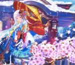 absurdres anan architecture bird blue_kimono blue_sky branch cherry_blossoms clouds day east_asian_architecture eyebrows_visible_through_hair floral_print flower hair_ornament highres holding holding_umbrella huge_filesize japanese_clothes kimono landscape lize_helesta long_hair mouth_hold multicolored_hair nijisanji obi oriental_umbrella original outdoors print_kimono red_eyes sash shrine sky snow standing torii tree tree_branch two-tone_hair umbrella white_hair