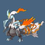 blue_background claws commentary creature english_commentary full_body gen_5_pokemon highres kyurem no_humans pokemon pokemon_(creature) sharp_teeth signature simple_background solo standing teeth white_eyes white_kyurem yellow_sclera zeefster