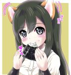 1girl aka_kitsune animal_ears arm_warmers asashio_(kantai_collection) bangs black_hair blush buttons collared_shirt commentary_request dog_ears ear_wiggle eating eyebrows_visible_through_hair food food_on_face green_background grey_eyes hair_between_eyes hands_up holding holding_food kantai_collection kemonomimi_mode long_hair looking_at_viewer motion_lines onigiri rice rice_on_face shirt short_sleeves sidelocks solo suspenders upper_body white_shirt