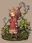 1girl animal_ears bangs bindle blue_flower brown_background brown_eyes brown_footwear brown_hair expressionless eyebrows_visible_through_hair flower full_body holding hood hood_down kiitos leaf long_sleeves medium_hair minigirl mouse_ears mouse_girl mouse_tail original shoes solo standing tail twitter_username yellow_flower