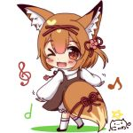 >_o 1girl ;d animal_ear_fluff animal_ears bangs black_footwear blush_stickers brown_dress brown_eyes brown_hair character_request chibi colored_shadow commentary_request copyright_request dress eighth_note eyebrows_visible_through_hair fang flower fox_ears fox_girl fox_tail full_body hair_between_eyes hair_flower hair_ornament hairclip heart heart_in_eye kneehighs long_sleeves looking_at_viewer looking_to_the_side musical_note nyano21 one_eye_closed one_side_up open_mouth pink_flower puffy_long_sleeves puffy_sleeves quarter_note red_ribbon ribbon shadow shirt short_hair signature sleeveless sleeveless_dress sleeves_past_wrists smile solo standing standing_on_one_leg star symbol_in_eye tail tail_ribbon treble_clef white_background white_legwear white_shirt x_hair_ornament