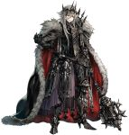 1boy armor black_cape cape fur-trimmed_cape fur_trim gauntlets greaves grey_hair hair_between_eyes high_heels holding holding_mask holding_weapon long_hair mace male_focus mask multicolored multicolored_cape multicolored_clothes original parted_lips red_cape red_eyes senano-yu simple_background smile solo standing vambraces weapon white_background