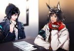 2boys animal_ears arknights armband black_hair black_jacket blue_eyes blurry blurry_background courier_(arknights) doctor_(arknights) elbows_on_table gloves goggles hand_up hood hooded_jacket indoors jacket long_sleeves male_focus mibu_(1064493753) multiple_boys paper pocket red_gloves red_scarf scarf sitting smile table visor white_jacket