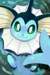 :3 afloat blue_theme closed_mouth creature gen_1_pokemon green_eyes looking_at_viewer no_humans orcaowl pokemon pokemon_(creature) signature smile solo vaporeon water