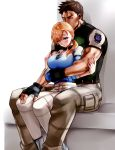 1boy 1girl blonde_hair blush breasts chris_redfield commentary_request fingerless_gloves gloves hug hug_from_behind jewelry jill_valentine large_breasts long_hair looking_at_viewer muscle nagare ponytail resident_evil resident_evil_5
