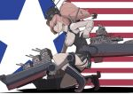 1girl american_flag anchor_hair_ornament atlanta_(kantai_collection) boushi-ya breasts brown_hair camouflage camouflage_skirt earrings eyebrows_visible_through_hair from_side full_body garrison_cap garter_straps gloves hair_ornament hat headgear high-waist_skirt jewelry kantai_collection long_hair partly_fingerless_gloves profile rigging single_earring skirt solo star star_earrings twintails
