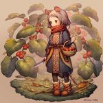 1girl animal_ears basket black_legwear blush boots brown_background brown_footwear commentary_request food fruit fruit_basket grey_hair holding holding_basket holding_knife kiitos knife leaf long_hair long_sleeves minigirl mouse_ears mouse_girl mouse_tail original plant red_scarf scarf solo strawberry tail twitter_username
