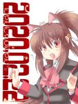 1girl animal_ears artist_name ascot brown_hair cat_day cat_ears commentary_request dated little_busters! long_hair looking_at_viewer natsume_rin open_mouth ponytail red_eyes red_neckwear school_uniform scp solo white_background