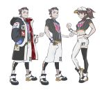 1boy 1girl adapted_costume asymmetrical_legwear asymmetrical_pants baseball_cap brown_eyes brown_hair cosplay dande_(pokemon) dande_(pokemon)_(cosplay) full_body hair_slicked_back hand_on_hip hat legwear_under_shorts masaru_(pokemon) midriff older pantyhose pokemon pokemon_(game) pokemon_swsh ponytail shoes shorts sneakers white_shorts yuuri_(pokemon)