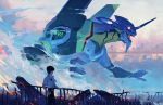 1boy black_hair bridge building city damaged digital_media_player earphones earphones eva_01 fog glowing glowing_eye guard_rail headphones holding holding_railing ikari_shinji mecha neon_genesis_evangelion open_mouth outdoors pixiescout railing red_eyes rubble shirt smoke white_shirt