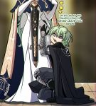 1boy 1girl armor artist_name black_gloves byleth_(fire_emblem) byleth_(fire_emblem)_(male) dress english_text fire_emblem fire_emblem:_three_houses from_side gloves green_hair highres kinkymation long_hair long_sleeves looking_to_the_side open_mouth rhea_(fire_emblem) short_hair squatting
