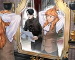2boys ascot black_hair blank_eyes cravat ferdinand_von_aegir fire_emblem fire_emblem:_three_houses frilled_shirt frills hair_over_one_eye hair_tie holding holding_paper hubert_von_vestra korokoro_daigorou long_hair mirror multiple_boys older orange_hair paper reflection shaded_face shirt translation_request turn_pale tying_hair vest waistcoat