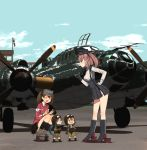 4girls aircraft airplane annin_musou atlanta_(kantai_collection) black_headwear black_legwear black_skirt blue_eyes blue_hair blue_sky blush brown_gloves brown_hair closed_eyes day earrings fairy_(kantai_collection) fang garrison_cap gloves green_hair gun hair_between_eyes handgun hat high-waist_skirt japanese_clothes jewelry kantai_collection kariginu kneehighs long_hair long_sleeves magatama multiple_girls nambu_type_14 open_mouth p1y_ginga partly_fingerless_gloves pilot pilot_helmet pilot_suit pleated_skirt ponytail ryuujou_(kantai_collection) shadow shirt short_hair skirt sky star star_earrings suspender_skirt suspenders twintails two_side_up visor_cap weapon white_shirt