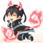1girl baggy_pants bangs beige_background black_coat black_footwear black_gloves black_hair black_pants boots chibi claw_pose coat commentary_request en'en_no_shouboutai eyebrows_behind_hair facing_viewer fiery_ears fiery_tail fire from_behind fujito_(call_f_) full_body gloves gradient gradient_background highres long_sleeves open_clothes open_coat open_mouth outline pants sidelocks signature simple_background solo tail tamaki_kotatsu two_side_up white_background yellow_eyes
