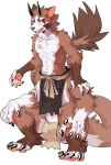 1boy absurdres animal_ears beshikuya brown_fur centauroid chest claws collarbone commentary_request facial_mark full_body furry highres horns loincloth long_tail looking_at_viewer male_focus navel nipples open_mouth original paws red_eyes ribs sash sharp_teeth simple_background sitting slit_pupils smile solo tail teeth tongue two-tone_fur white_background white_fur