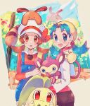 :3 :d aipom bangs blue_hair blue_overalls blush brown_hair chikorita closed_mouth creature crystal_(pokemon) flat_chest gen_2_pokemon happy highres kotone_(pokemon) looking_at_viewer medium_hair mu_acrt open_mouth overalls pokemon pokemon_(creature) pokemon_(game) pokemon_gsc pokemon_hgss red_eyes sentret sidelocks smile standing tree twintails upper_body