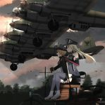 2girls aircraft anchor annin_musou bangs bird bismarck_(kantai_collection) blonde_hair blue_eyes blush breasts brown_gloves clouds elbow_gloves fairy_(kantai_collection) gloves hat he_111z highres iron_cross kantai_collection long_hair long_sleeves military military_uniform multiple_girls open_mouth outdoors peaked_cap pleated_skirt prinz_eugen_(kantai_collection) sitting skirt sleeveless smile thigh-highs tree twintails uniform white_gloves white_skirt