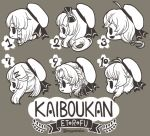 6+girls bangs bow braid chibi etorofu_(kantai_collection) eyebrows_visible_through_hair fang freckles fukae_(kantai_collection) glasses greyscale hair_ornament hairclip hat hirato_(kantai_collection) kantai_collection long_hair makora_higa matsuwa_(kantai_collection) monochrome multiple_girls open_mouth profile ribbon sado_(kantai_collection) sailor_hat short_hair sidelocks simple_background skin_fang smile tsushima_(kantai_collection) twitter_username