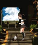 1girl 1other annin_musou black_legwear blue_sky brown_hair brown_sailor_collar brown_skirt cat clouds commentary_request day grey_footwear kantai_collection kneehighs outdoors ponytail railroad_crossing railroad_signal railroad_tracks sailor_collar scenery school_uniform serafuku shikinami_(kantai_collection) short_hair short_ponytail sign skirt sky smile tunnel