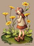 1girl animal_ears boots brown_footwear commentary_request flower from_behind full_body grey_background grey_hair holding holding_flower kiitos leaf long_sleeves looking_at_viewer looking_back minigirl mouse_ears mouse_girl mouse_tail open_mouth original short_hair smile solo tail yellow_flower
