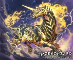 company_name copyright_name day fire full_body horse lightning no_humans nurikabe_(mictlan-tecuhtli) official_art outdoors smoke solo unicorn watermark zenonzard