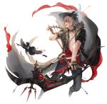 1boy abs animal animal_ears arrow bard_(final_fantasy) bird blonde_hair bow_(weapon) cat_boy cat_ears cat_tail chest coat collar ears_through_headwear fang feathers fictional_persona final_fantasy final_fantasy_xiv full_body gloves harp hat hat_feather holding holding_bow_(weapon) holding_instrument holding_weapon instrument jit knife looking_to_the_side male_focus midair miqo'te open_clothes open_coat open_mouth outstretched_arm pants short_hair short_sleeves simple_background stomach tail toned toned_male weapon white_background