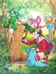 1boy aipom backwards_hat gen_1_pokemon gen_2_pokemon gold_(pokemon) grass hat highres johto_route_36 male_focus mu_acrt outdoors pokemon pokemon_(creature) pokemon_(game) pokemon_gsc pokemon_on_head squirt_bottle squirtle totodile tree