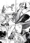 2girls absurdres battle belt earrings fur_trim gloves goggles goggles_on_head greyscale highres jewelry kicking medium_hair monochrome multiple_girls navel necktie original parted_lips punching reiga_(act000) shorts speed_lines sweat thigh-highs