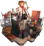 1girl :d ahoge alternate_costume arknights bag bangs bare_legs black_footwear black_shorts croissant croissant_(arknights) eyebrows_visible_through_hair food french_fries full_body gloves hand_up handbag highres horns huanxiang_heitu jacket kfc long_hair looking_at_viewer low_ponytail milk_carton official_art open_clothes open_jacket open_mouth orange_hair paper_bag planted red_legwear red_neckwear shield shirt shoes short_sleeves shorts smile socks solo standing stool table transparent_background visor_cap white_jacket white_shirt yellow_eyes
