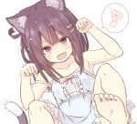 1girl :d animal_ear_fluff animal_ears armpits bangs bare_arms bare_shoulders barefoot blush bow breasts brown_eyes brown_hair cat_day cat_ears cat_girl cat_tail center_frills chinchin_kemokemo collarbone commentary_request dress eighth_note eyebrows_visible_through_hair fang feet frilled_dress frills fujisaki_yuu hair_ornament hairclip hands_up musical_note narugami_yuzuriha open_mouth paw_pose red_bow sleeveless sleeveless_dress small_breasts smile soles solo spoken_musical_note tail white_dress