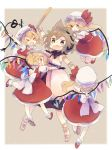 5girls arm_grab arm_up armlet ashiyu_(ashu-ashu) back_bow blonde_hair blush_stickers bow bracelet brown_eyes brown_hair clone closed_eyes crystal dress earmuffs fang flandre_scarlet four_of_a_kind_(touhou) full_body hat hat_ribbon highres holding hug jewelry laevatein long_hair mob_cap multiple_girls open_mouth pink_dress pointy_ears red_eyes red_footwear red_ribbon red_skirt red_vest ribbon ritual_baton sandals shirt shoes short_hair short_sleeves side_ponytail skirt sleeveless sleeveless_dress smile socks sweatdrop touhou toyosatomimi_no_miko vest wavy_mouth white_bow white_headwear white_legwear white_shirt wings wrist_cuffs