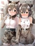 2girls :> :d absurdres amemiya_neru animal_ear_fluff animal_ears bangs bare_shoulders blurry blurry_background blush bow bowtie breasts cat_ears character_request elbow_gloves extra_ears fang gloves grey_hair hair_between_eyes hair_twirling highres holding_hands interlocked_fingers kemono_friends medium_breasts multiple_girls nose_blush open_mouth outdoors print_gloves print_neckwear print_skirt shirt short_hair short_sleeves signature skirt smile thigh-highs white_shirt yellow_eyes yuri