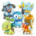:d bird chimchar closed_mouth commentary creature english_commentary fushigi_no_dungeon gen_4_pokemon happy highres monkey no_humans nordeva open_mouth penguin piplup pokemon pokemon_(creature) pokemon_(game) pokemon_fushigi_no_dungeon riolu shinx simple_background sitting smile standing turtwig watermark white_background