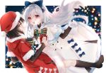 2girls adapted_costume alternate_costume bell black_hair bodystocking boots bow bowtie capelet caws_(girls_frontline) christmas coat commentary_request dutch_angle eyelashes fur-trimmed_capelet fur-trimmed_coat fur-trimmed_sleeves fur_collar fur_trim gift girls_frontline grey_hair hair_bow hat highres holding holding_gift ichigota_ruto knee_boots lights long_hair long_sleeves looking_at_another multiple_girls night open_mouth pantyhose red_eyes santa_costume santa_hat short_hair smile striped striped_bow tokarev_(girls_frontline) very_long_hair white_coat yellow_eyes