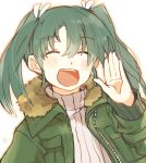 1girl blush casual closed_eyes coat eyebrows_visible_through_hair green_hair hair_between_eyes hand_up ina_(1813576) kantai_collection open_mouth ribbed_sweater sketch smile solo sweater twintails upper_body zuikaku_(kantai_collection)