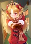 1girl absurdres bangs blonde_hair blush bow chocolate coat duffel_coat embarrassed ereshkigal_(fate/grand_order) eyebrows eyebrows_visible_through_hair fate/grand_order fate_(series) hair_bow highres indoors long_hair long_sleeves open_mouth outstretched_arms parted_bangs red_bow red_coat red_eyes scarf signature skirt solo speech_bubble spoken_sweatdrop sunlight sweatdrop tiara user_saxg4433 valentine window