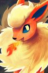 :d blue_eyes breathing_fire creature fire flareon gen_1_pokemon looking_at_viewer no_humans open_mouth orcaowl pokemon pokemon_(creature) signature smile solo