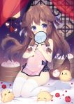 >_< 1girl =_= animal_ears azur_lane bamboo_steamer bangs baozi bird blue_eyes blurry blurry_background blush blush_stickers bow breasts brown_hair bug butterfly chestnut_mouth chick china_dress chinese_clothes commentary_request covered_navel covering_mouth crescent crescent_hair_ornament curtains dog_ears dog_girl dog_tail dress eyebrows_visible_through_hair fan floral_print flower food full_body fumizuki_(azur_lane) hair_bow hair_ornament hairclip highres holding holding_fan holding_food insect knees_together_feet_apart lantern long_hair looking_at_viewer manjuu_(azur_lane) no_shoes on_bed petals pink_dress purple_bow ribbon see-through short_dress side_slit sidelocks sitting sitting_on_bed sleeveless sleeveless_dress small_breasts solo_focus tail thigh-highs thighs tsukimi_(xiaohuasan) two_side_up wariza white_bow white_legwear window |_|