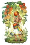 1girl bangle bracelet cherry_tomato commentary_request dress food food_on_head fruit fruit_on_head full_body highres jewelry kiitos leaf looking_at_viewer minigirl mouse_girl object_on_head open_mouth original plant sandals sleeveless sleeveless_dress smile solo standing tomato twitter_username water white_background white_dress