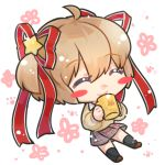 1girl beige_sweater black_legwear blonde_hair blush_stickers bow chibi closed_eyes closed_mouth cup floral_background full_body kamikita_komari little_busters! may_salamanya mug pink_bow plaid plaid_skirt school_uniform short_hair skirt smile solo twintails white_background